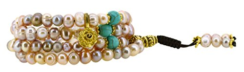 Cultured Pearl Rose Gold Bracelet (Pink and Purple Dyed Freshwater Cultured Pearls Yoga Meditation 108 Prayer Beads Mala Wrap Bracelet or Necklace (Rose Flower))