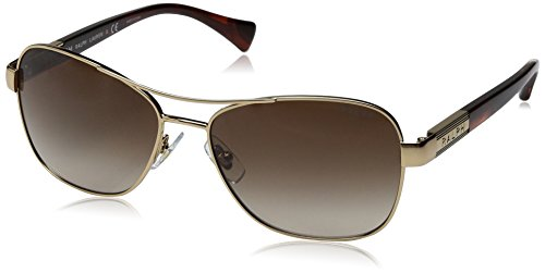Ralph Lauren Sunglasses Women's 0ra4119 Rectangular, Gold/ Striated Brown, 57 - Ralph 135 Sunglasses Lauren