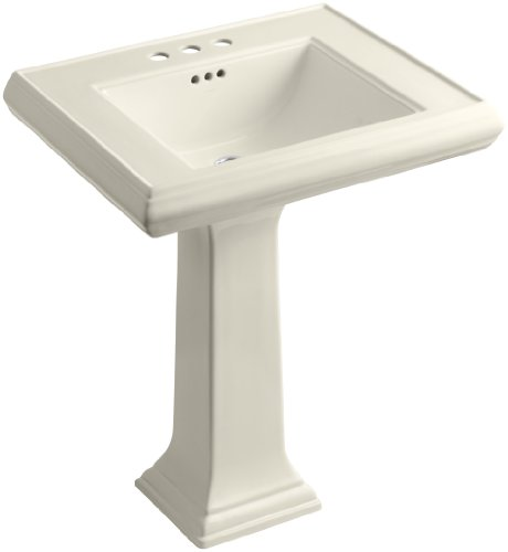 KOHLER K-2258-4-47 Memoirs Classic 27-Inch Pedestal Bathroom Sink with 4-Inch Centerset Faucet Holes, Almond