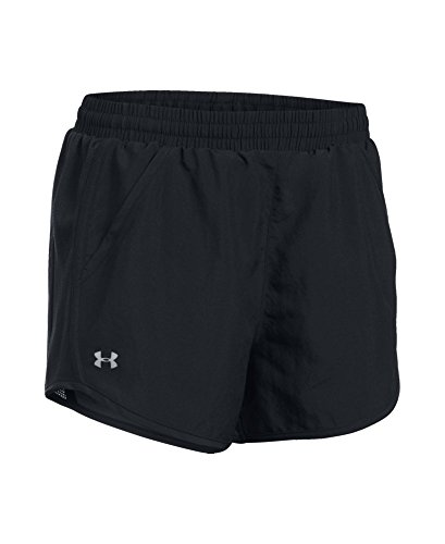 Under Armour Women's Fly-By Shorts, Black /Reflective, Medium