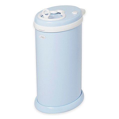 Ubbi® Diaper Pail in Light Blue Powder-coated Steel Design