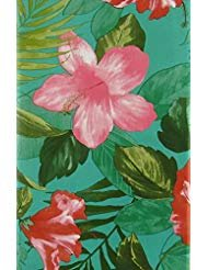 - Exotic Tropical Flowers and Leaves Vinyl Flannel Back Tablecloth (52