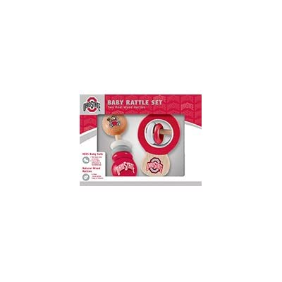 MasterPieces NCAA Ohio State Buckeyes, Natural Wood, Non-Toxic, BPA, Phthalates, & Formaldehyde Free, Baby Rattle, 2 Pack: Sports & Outdoors [5Bkhe1102549]