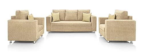 BI 3+1+1 Seater Fabric Sofa Set  Beige  Generic