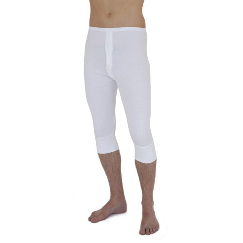 Mens thermal Underwear 3/4 length long Johns (British Made) (Waist: 36-38inch (Large)) (White)