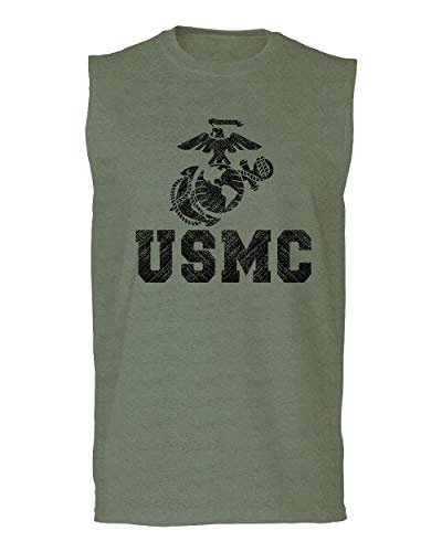 Black Marine Corp USMC Big Logo Seal United States of America USA American Men's Muscle Tank Top Sleeveless t Shirt (Olive X Large)