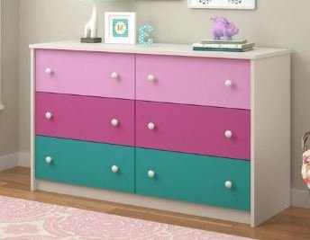 Dressers For Bedroom Kids Multicolored Wood Six Drawers Horizontal Storage Solution For Your Little Ones
