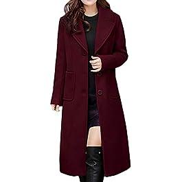 NPRADLA Women Ladies Winter Lapel Slim Long Coat Jacket Parka Outwear Wool Overcoat