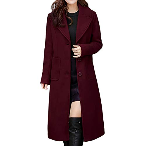 - Todaies Women Ladies Winter Lapel Slim Long Coat Jacket Parka Outwear Wool Overcoat (XL, Red)