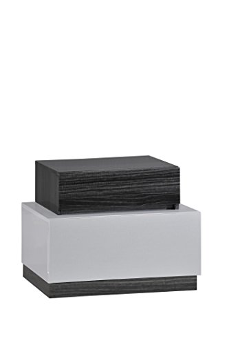 Global Furniture Lexi Nightstand, Silver Line and Zebra Grey