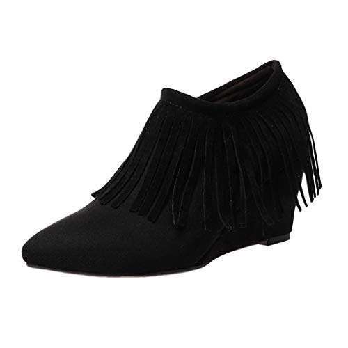 - TnaIolral Women Boots Wedges High Heel Tassel Ankle Side Zipper Short Shoes Black