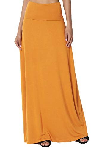 Solid Stretch Jersey - TheMogan Women's Casual Solid Draped Jersey Relaxed Long Maxi Skirt Mustard XL