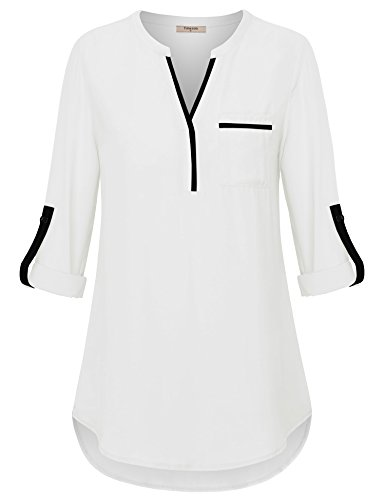 Timeson White Blouses for Women, Womens V Neck Shirts 3/4 Roll Sleeve Chiffon Blouse for Casual Business Work Loose Fit Dressy Tunics Blouses Shirt Tops for Junior White XX-Large by Timeson