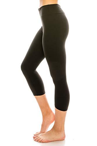 - ShyCloset High Waisted Yoga Leggings - Capri & Ankle Full Length Basic Plain Soft Slim Tight Pants (Plus Size, Capri - Black)