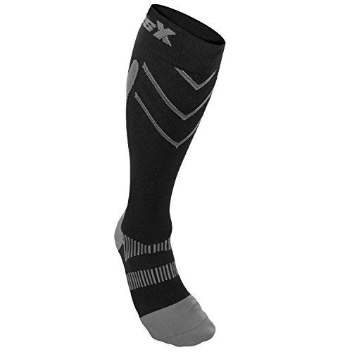CSX Compression Athletic Socks, Silver on Black, X-Large 15-20 mmHg -  Surgical Appliance Industries, X200SB-XL
