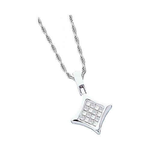 Roy Rose Jewelry 14K White Gold Womens Princess Diamond Square Kite Cluster Pendant 1/8-Carat tw