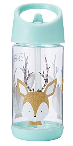 - bottlebottle 11.5oz Tritan Leak Proof Kids Water Bottle with Flip Straw and Handle, BPA Free, Mint with Deer