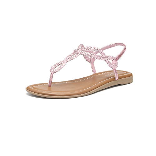 (Women's Braided T-Strap Sandals Slingback Flats Roman Gladiator Thongs (8, Pink))