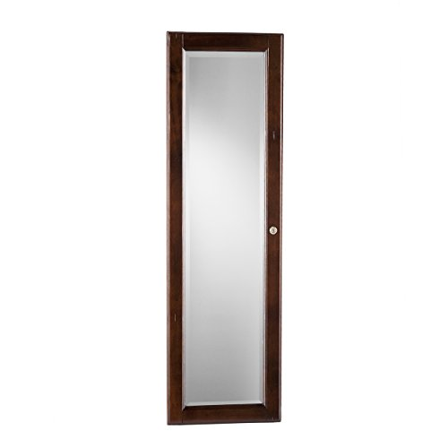 Wall Mount Jewelry Mirror - Brown Walnut (Armoire Jewelry Wall Mirror)