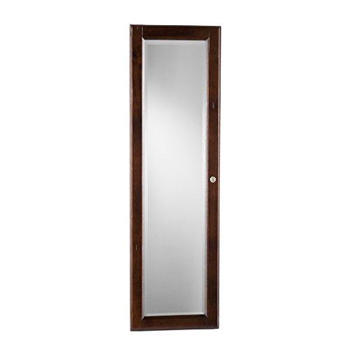Sophia Wall-Mount Jewelry Mirror-Warm Brown Walnut