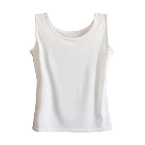 Zylioo Womens 100% Mulberry Silk Camisoles Cap Sleeve Layering Tee Scoop Neckline Comfy Sleeveless Tank Top,White,US L ()