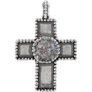 Pendentif Croix en argent sterling avec design en verre romain antique