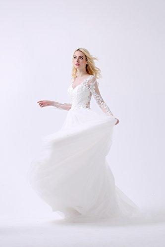 Elegantes mit Brautkleid WD15431 Maßanfertigung Ärmeln Schleppe Design Lactraum Spitzenapplikationen 7qwFAC