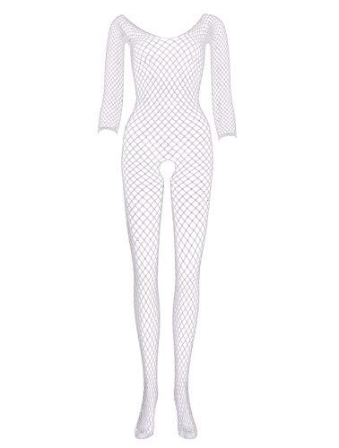 LEMON GIRL Women's Size US2-16 Fishnet Bodystocking Long Sleeve Stocking Lingerie Bodysuit White ()