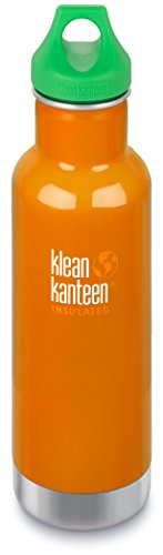 Klean Kanteen 20 oz Classic Insulated Stainless Steel Water Bottle, Canyon Orange with Green Loop Cap