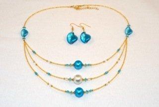 Aqua blue 3 tier murano glass necklace and earrings set - Murano Glass Earrings Set