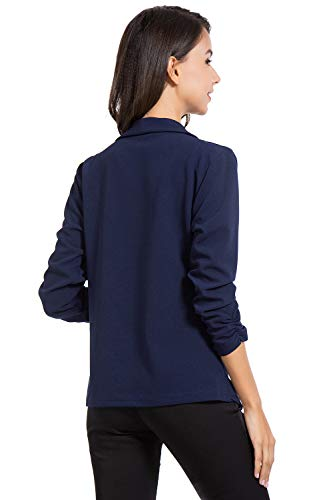 AUQCO Casual Open Front Blazer for Women Work Office Business Jacket Ruched 3/4 Sleeve Lightweight Draped Cardigan 15
