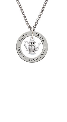 Tea Pot - Love Hope Faith Affirmation Ring Necklace