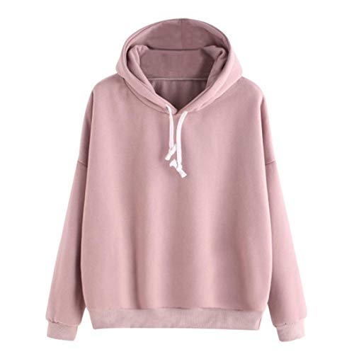 Women Hoodie Sweatshirt Daoroka Ladies Cotton Long Sleeve Solid Drawstring Autumn Winter Pullover Hooded Blouse Fashion Causal Loose Sport Jumper Tunic Tops