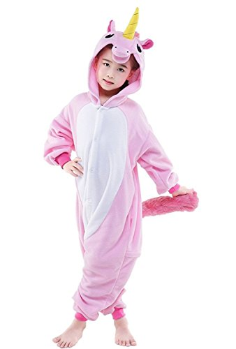 Father And Son Halloween Costumes (Famycos One-piece Animal Costumes Pajama for Unisex Family School Cosplay Party New Pink Unicorn Kids-4)