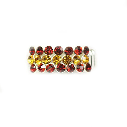 [Garnet and Gold Tone Crystal Stretch Ring] (Gopher Costumes)