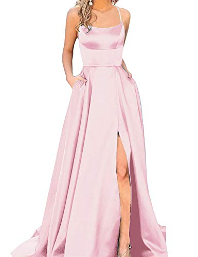 Halter Prom Dresses Long Split A-Line Spaghetti Evening Gowns with Pockets 2019 Pink Size 2