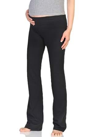 Beachcoco Women's Maternity Fold Over Comfortable Lounge Pants (S (Capri Length), Black)