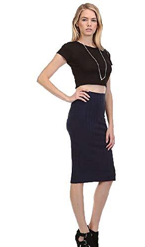 (MoDDeals Women's Regular, Plus Size Knee Length Basic Stretch Bodycon Pencil Skirt Office Work (Medium, Navy Blue Ribbed))