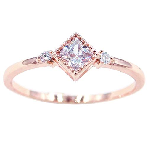 Gieschen Jewelers 'Lora' 14K Rose Gold-Plated CZ Princess-Cut Crystal Dainty Ring, Size 8 ()