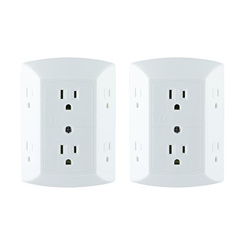 (GE Office, Home Theater, Kitchen, or Bathroom, 6 Plug Strip 2 Pack, Extra Wide Spaced Cell Phone, Power Adapter, 3 Prong, Multi Outlet Wall Charger, Quick & Easy Install, UL Listed, White, 40222)