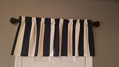 (Navy Blue and White Stripe Valance Curtain - Lined (40.5 Inches Wide x 15 Inches Long))