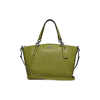 a853163625a Coach Pebble Leather Mini Kelsey Satchel Crossbody Handbag (Yellow Green)