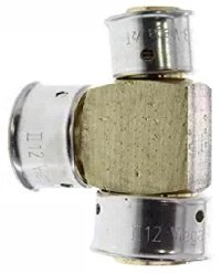 Zero Lead Bronze 3/4 inch x 1/2 inch x 3/4 inch PEX Press Reducing Tee with Attached Sleeve