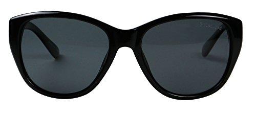 Basik Eyewear - Vintage Cat Eye POLARIZED Classic Fashion 100% UV Sunglasses (Black Frame, - Eye Cat Sunglasses Rounded
