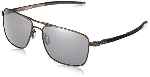 Oakley Men's OO6038 Gauge 6 Titanium Square Sunglasses, Pewter/Prizm Black Polarized, 57 mm