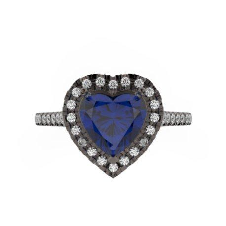 MELIA Bagues Or Noir 18 carats Saphir Bleu 0,6 Cur