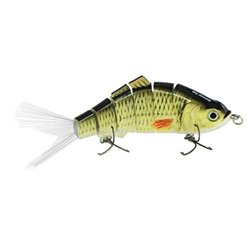 Discover Fish Fishing Lures 6 Segment Multi Jointed Sinking Plugs for Sea Bass Musky Pike Snook with Fibre Rooster Fishtail Treble Hooks Swimbait Saltwater Freshwater Trolling Hard Baits 1.5oz 6.5inch