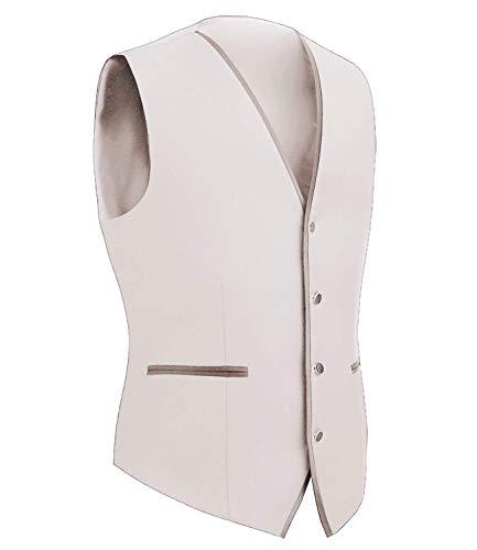 A Tuxedo Giacche Tuta Uomo Maniche Vest Jacket Da Senza Monopetto Ragazzo V Slim Beige Capispalla Fit Scollo w7gqxA0w
