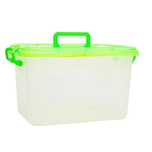 UniquQ 17 Liter Ultra Latch Box Clear Plastic Storage with a White Lid for Homen Tool Box (clear-green) ()