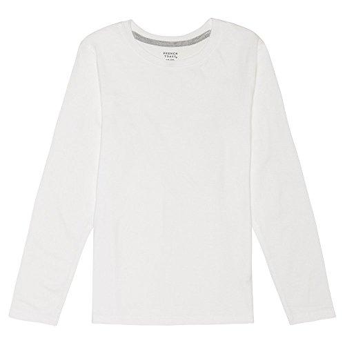 French Toast Boys' Big Long Sleeve Crewneck Tee T-Shirt, White, M (8) (Sleeved Uniform Girls Long Shirts)